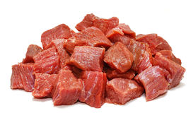 Raw beef meat isolated on white. Background Stock Photos