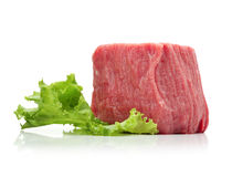 Raw beef meat with lettuce Stock Photo