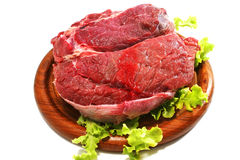 Raw beef meat and salad over white on plate. Beef meat and salad over white on plate Stock Images