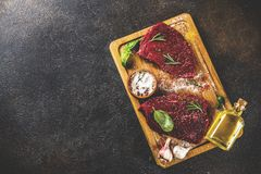 Raw beef meat with spices. On cutting board, dark rusty background copy space Royalty Free Stock Photos