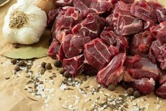 Raw beef meat with spices. On paper Stock Photo