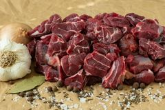 Raw beef meat with spices. On paper Stock Images