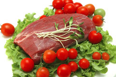 Raw beef meat and vegetables. Fresh raw beef meat and vegetables Royalty Free Stock Photography