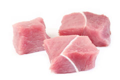 Raw beef meat on white Stock Photos