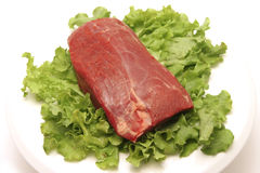 Raw beef meat on white plate Stock Photo