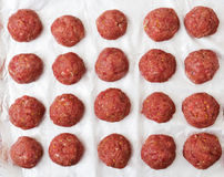 Raw beef meatballs are ready to cook. Flat lay. Top view Stock Photography