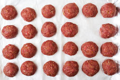 Raw beef meatballs are ready to cook. Flat lay. Top view Royalty Free Stock Image