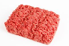 Raw beef minced meat. With white background Stock Photos