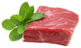 Raw beef with mint leaves Royalty Free Stock Photos