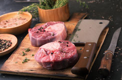 Raw beef ossobuco on a wooden table Royalty Free Stock Photo