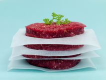 Raw Beef Patties Stock Photo