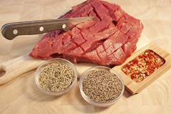 Raw Beef Pepper Steak, XXXL Royalty Free Stock Photos