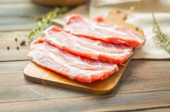 Raw beef, pork steak with herbs and spices Royalty Free Stock Photo