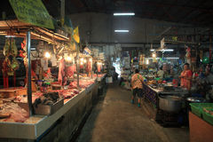 Raw beef and pork at Thai local food market. KORAT, THAILAND -JUL 20, 2014: Unidentified  merchant selling raw beef and pork at  Mae-Kim-Heng in Nakhon Royalty Free Stock Image
