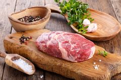Raw beef rib eye steak royalty free stock photography