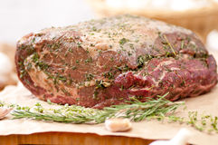 Raw beef rib roast. Spice and herb crusted beef rib roast, raw and ready for the oven Royalty Free Stock Photos