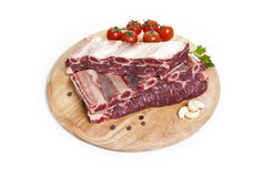Raw beef rib on a white background Stock Photos