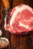 Raw beef Ribeye  steak   on wooden  table Stock Image