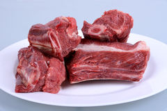 Raw Beef Ribs on Plate. Isolated Stock Image