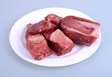 Raw Beef Ribs on Plate. Isolated Royalty Free Stock Photography