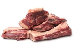 Raw beef ribs. On white background stock image