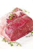 Raw beef roast. Tied and ready for cooking Stock Image