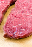Raw beef-roast beef meat steak on the wooden backg Royalty Free Stock Photo