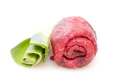 Raw beef roulade Stock Photos