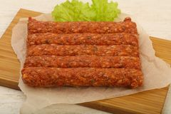 Raw beef sausages. For grill Stock Photography