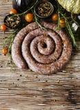 Raw beef sausages, selective focus Stock Photo