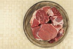 Raw beef shin. Preparing meat for cooking. Stock Images