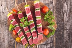 Raw beef skewer Stock Photos