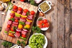 Raw beef skewer Royalty Free Stock Image