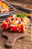 Raw beef skewers ready for grilling Royalty Free Stock Photography