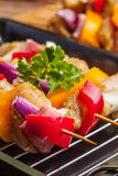 Raw beef skewers ready for grilling Royalty Free Stock Images