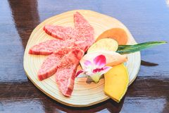 Raw beef slice for barbecue, Japanese food, Yakiniku. Cooking in Japanese Style. Japanese Cuisine Royalty Free Stock Image