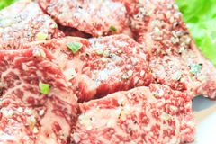 Raw beef slice for barbecue, Japanese food, Yakiniku. Cooking in Japanese Style. Japanese Cuisine Stock Image