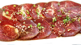 Raw beef slice for barbecue or yakiniku Royalty Free Stock Photography
