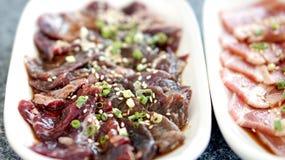 Raw beef slice for barbecue or yakiniku Stock Photo