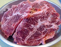Raw beef sliced. On closeup Royalty Free Stock Photos