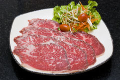Raw Beef slices Stock Images