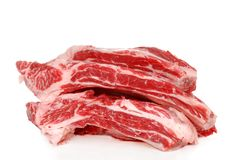 Raw Beef spare ribs. Isolated Raw Beef spare ribs on white background Stock Photos