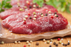 Raw beef with spices Royalty Free Stock Photography