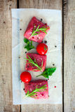 Raw beef with spices Royalty Free Stock Image