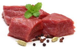 Raw beef with spices Stock Photography