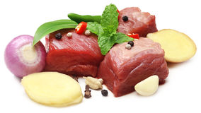 Raw beef with spices Stock Images