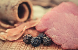 Raw beef with spices Royalty Free Stock Photo