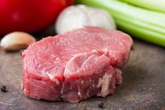 Raw beef steak, cooking delicious dinner Stock Photo