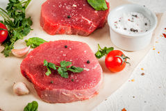 Raw beef, steak, cutlet. Stock Images