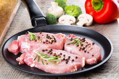 Raw beef steak. Royalty Free Stock Image
